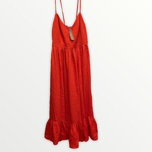 NWT JCREW drapey spaghetti strap long dress flowey